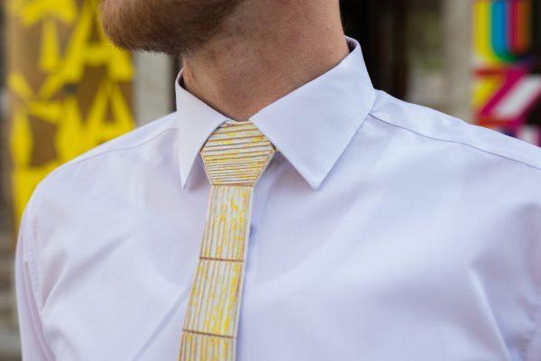 """Drevená pánska kravata Retro žltá """"MARKstyle"""""""