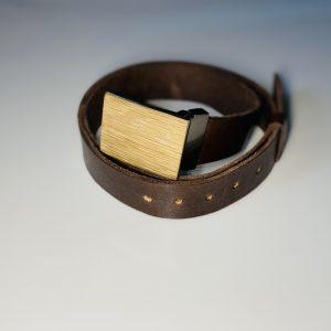 """Hnedý kožený opasok drevený prírodný2 """"MARKstyle"""""""
