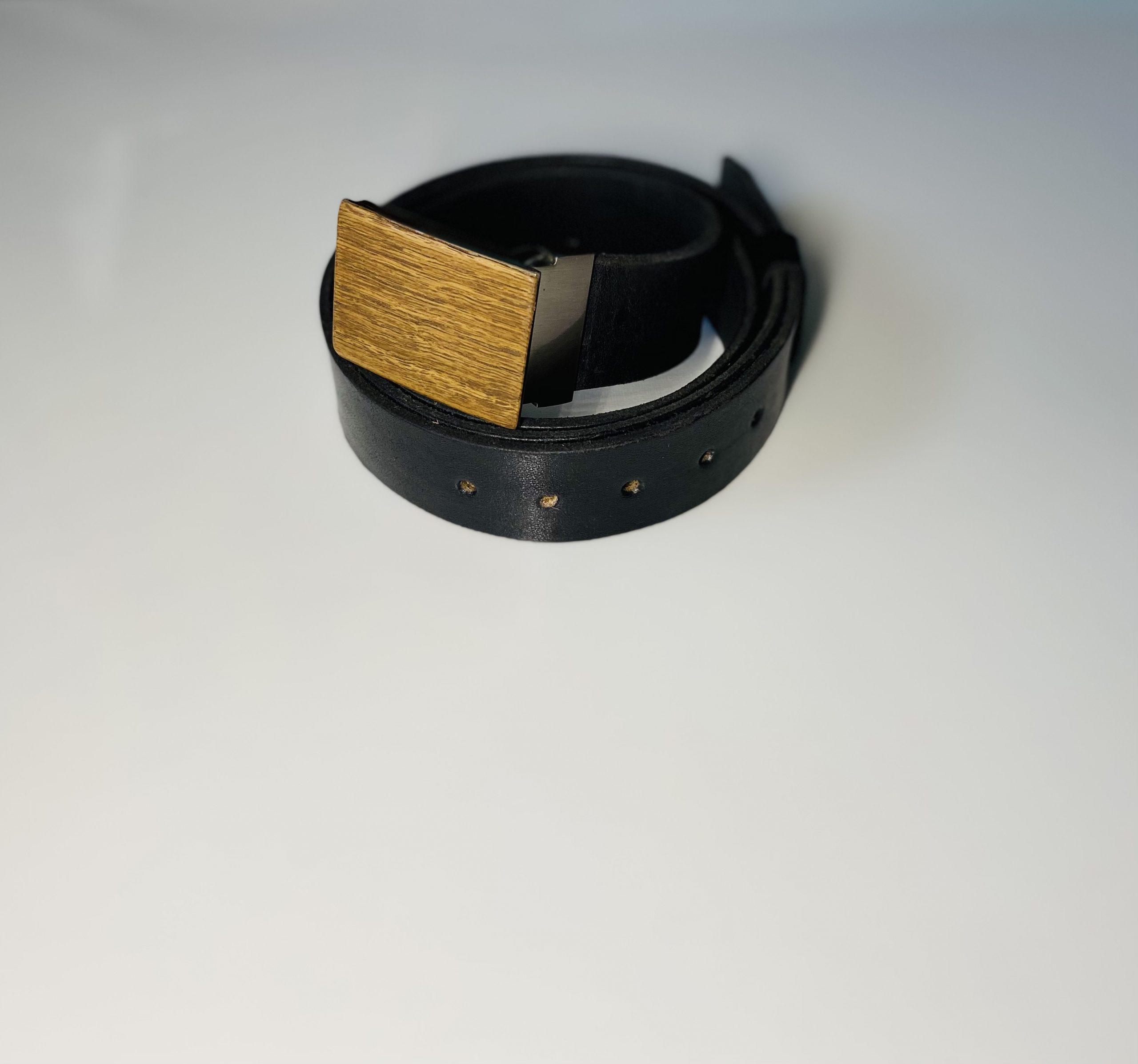 """Čierny kožený opasok drevený orech2 """"MARKstyle"""""""