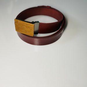 """Bordový kožený opasok drevený gaštan2 """"MARKstyle"""""""