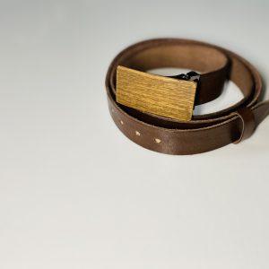 """Hnedý úzky kožený opasok drevený orech2 """"MARKstyle"""""""