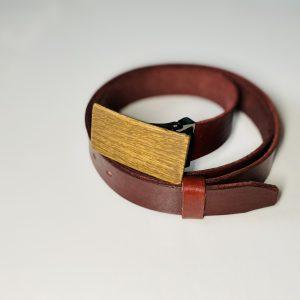 """Bordový úzky kožený opasok drevený orech2 """"MARKstyle"""""""